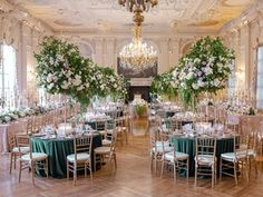 La Tavola Fine Linen Rental: Velvet Emerald with Dupionique Iridescence Blush Napkins | Photography: Rebecca Yale Photography, Planning: Simply Troy Lifestyle + Events, Florals: Birch Design Studio, Venue: Rosecliff Mansion, Paper Goods: Wedding Story Writer, Lighting: Ormonde Productions