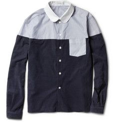 Carven Panelled Corduroy and Oxford Cotton Shirt   MR PORTER