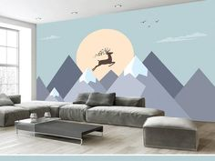 Hand Painted Geometric Mounatins Wallpaper Wall Murals, Nordic Ins Simple Modern Geometric Mountains with Sun Jumping Elk Nursery Wall Mural Nursery Wall Murals, Kids Room Murals, Small Room Interior, Interior Design Living Room, Bedroom Decor, Wall Decor, Bedroom Wall, Kids Bedroom Paint, Wall Wallpaper