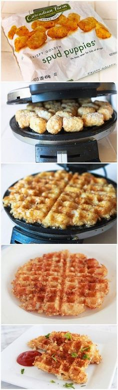 Don't even fucking lie to me! I KNOW you have tater tots in your freezer. Grab some and let them defrost to room temperature. Then... Look at the picture. It tells you all you need to know about how to make these amazing hash-browns in your waffle iron. Also!! You can use sweet potato tots if you'e into that. GO BUY A WAFFLE IRON! You can get a cheap one at WalMart for less than 10 bucks.