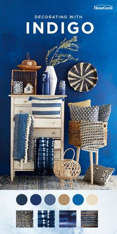 Make a stylish update to your home with indigo. Upholstered pieces, textiles, pillows, and even rugs can be used for an update that will wow. Indigo and white porcelain décor offers a timeless, classic look. Go ahead, try something new with indigo blue. Shop the look.