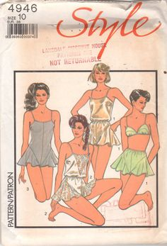 Style 4946 1980s Misses Sexy lacy LINGERIE Pattern Camisole Bra Teddy, Cami-knickers, French knickers womens vintage sewing pattern by mbchills