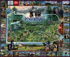 "Historic Pennsylvania by White Mountain Puzzles.   The Keystone State has thrived through over 400 years of American history...as a leader in the American and Industrial Revolutions; as a meeting place, and battleground, for the North and the South; as a launching pad for the settlement of the West. Great museums which celebrate this heritage can be found throughout the state. Artist - Randy Green: Item 91: 1000 piece jigsaw puzzle: Finished size 24"" X 30"""