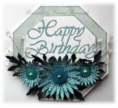 Birthday card, crealies patchwork die, Heartfelt Aster flowers