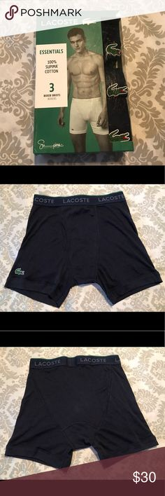 Lacoste men's 100% Supima Cotton 3 pk boxer briefs Lacoste men's essential 100% Supima Cotton Boxer Briefs. Size S. Brand New. 3 Navy Blue Boxer Briefs in this pack. Made in India. MSRP $39.50. Price is FIRM! Lacoste Underwear & Socks Boxer Briefs