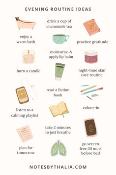 Evening Routine, Night Routine, Healthy Habits, Healthy Life, Health And Wellness, Health And Beauty, Mental Health, Self Care Bullet Journal, Vie Motivation