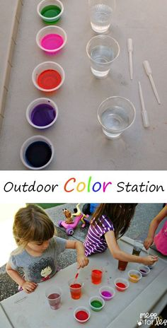 Outdoor Color Station - Kids can experiment with color mixing while working on their fine motor skills. This kept my kids entertained for ages!