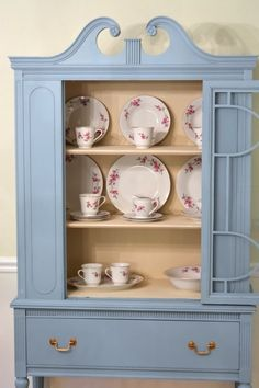 Thrift China Cabinet Makeover - Painted with Beyond Paint Nantucket furniture paint.