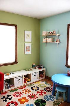 basement kids play area - ikea expedit book shelf on side