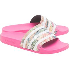 meet b5045 7df1d ADIDAS ORIGINALS Adilette Ray Pink  Flat slides (56) ❤ liked on Polyvore  featuring shoes, adidas originals, beach footwear, striped flat shoes, ...