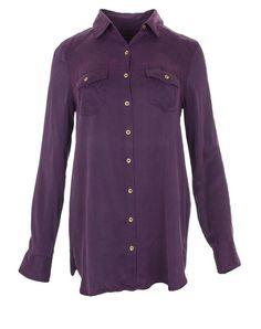 True Religion Women's Solid Silk Relaxed Georgia Tunic Shirt in Boysenberry Sz S…
