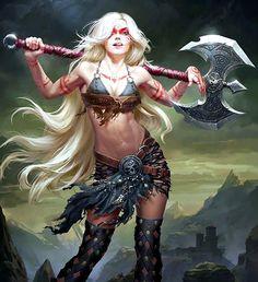 f Barbarian Battle Axe Wilderness Hills Ruins Legend of the Cryptids Grafit Studio Concept Art World lg Fantasy Warrior, Fantasy Girl, Dark Fantasy, Foto Fantasy, Chica Fantasy, 3d Fantasy, Warrior Girl, Fantasy Kunst, Fantasy Women