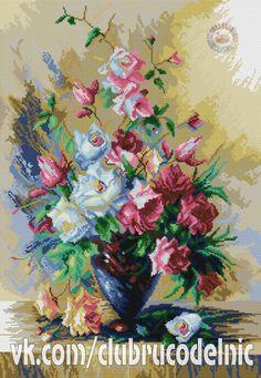 Gallery.ru / Фото #1 - aaa - kento Cross Stitch Flowers, Cross Stitch Patterns, Flower Phone Wallpaper, Cross Stitching, Needlepoint, Diy And Crafts, Photo Wall, Crochet, Embroidery