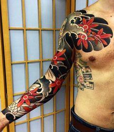 Japanese tattoo sleeve by @buslaytattoo. #japaneseink #japanesetattoo #irezumi #tebori #colortattoo #colorfultattoo #cooltattoo #largetattoo #armtattoo #chesttattoo #tattoosleeve #fishtattoo #koitattoo #mapleleaftattoo #blackwork #blackink #blacktattoo #wavetattoo #naturetattoo