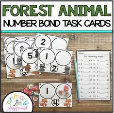 Forest Animal Number Bond Task Cards 1-10 Center - Primary Playground