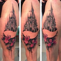 3D Castle on Arm. You might not find any other castle tattoo well-detailed than this one. The castle is made with lots of creativity and fine lines, that is hard to find in any other castle tattoos, especially for women.