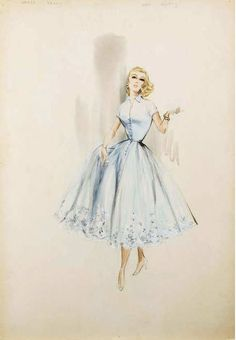 References For Bennett's Blue Dress Grace Kelly in To Catch a Thief and Joanne Woodward's sketches, all from costume designer Edith Head.