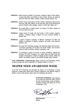 ST. PETERSBURG, FL - Mayoral proclamation recognizing Diaper Need Awareness Week (Sep. 26-Oct. 2, 2016) #Diaperneed diaperneed.org