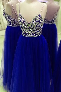 Navy blue organza V-neck open back beading long dress,sexy A-line dress