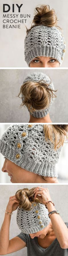 Mallory Messy Bun Beanie Crochet Kit Wear your hair up AND keep your head warm! Just pull your ponytail or bun through the top of this lacy crochet hat – the perfect gift for. Bonnet Crochet, Crochet Beanie, Crocheted Hats, Loom Knitting, Knitting Patterns, Hat Patterns, Stitch Patterns, Crochet Gratis, Crochet Hats
