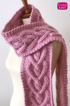 Heart Cable Knit Scarf Pattern My new favorite! Get free Heart Cable Knit Scarf Pattern. Create this beautiful texture of interlocking Celtic hearts fo. Knitted Heart Pattern, Cable Knitting Patterns, Easy Knitting, Knitting Stitches, Free Scarf Knitting Patterns, Quick Knitting Projects, Knitting Scarves, Knitting Tutorials, Knitting Ideas