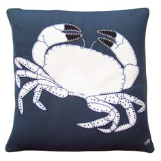 Made from navy blue linen and appliquéd with a magnificent crab in cream wool with black claws, this beautiful design is Navy hand-embroidered with blanket stitch, chain stitch and is finished with French knots. Luxury Cushions, Blanket Stitch, Kids Sleep, Linen Bedding, Bed Linens, Bedding Sets, Cool Beds, How To Make Pillows, Awesome Bedrooms