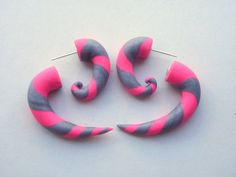 Pink Silver Spiral Earring Fake Gauge Hot Pink  Grey by Deceptions