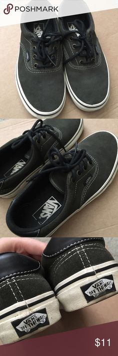 "Vans Era Suede Forest Night Womens size 6/Boys size 4.5. Worn in, but still in good condition. They appear light in the ""With Flash"" photo but the color in person/in natural lighting is actually a dark olive green. Vans Shoes Sneakers"