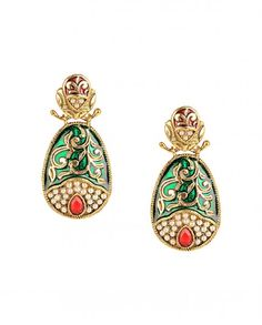 Green Enameled Pear Earrings with Red Stone