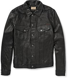 $500, Black Leather Denim Jacket: Nudie Jeans Perry Leather Jacket. Sold by MR PORTER. Click for more info: https://lookastic.com/men/shop_items/151512/redirect