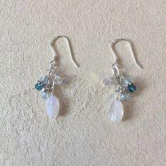 Moonstone Blue Quartz Blue Topaz Swarovski Crystal Thai Silver & Sterling Silver Earrings, Sundance Style, June Birthstone, March Birthstone