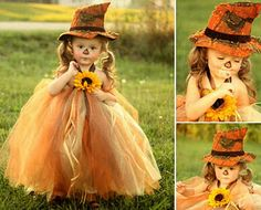 Halloween Costume for little toddler girl ~ Totally darling - brown longsleeve then tulle and a felt hat attached to a headband or stocking hat to keep it on