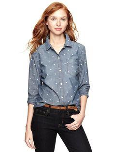 dotted boyfriend pocket shirt