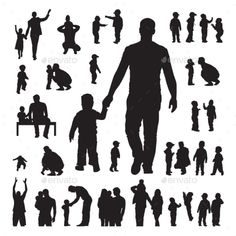 Buy Children and Parents Silhouettes Set by on GraphicRiver. Children and parents silhouettes set on a white background Daddy Tattoos, Father Tattoos, Family Tattoos, Father Son Tattoo, Parent Tattoos, Tattoo For Son, Tattoos For Daughters, Kids Silhouette, Custom Temporary Tattoos