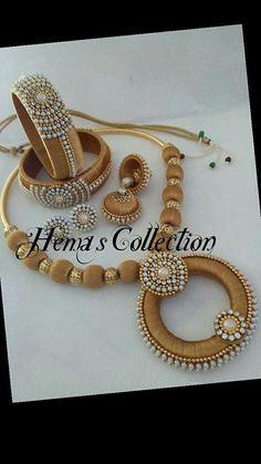 For reference Silk Thread Bangles Design, Silk Thread Necklace, Silk Bangles, Beaded Necklace Patterns, Bridal Bangles, Thread Jewellery, Bridal Jewelry Sets, Jewelry Patterns, Beaded Jewelry
