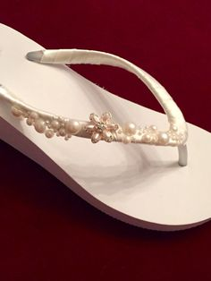70758a1cf71 Wedding Flip Flops.Bridal Flip Flops. Platform Flip Flops.Bridal Shoes.Ivory  Flip Flops. Beach Weddings.Wedding Shoes.Wedding Sandals.