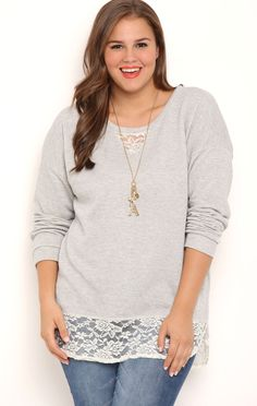 Deb Shops Plus Size Long Sleeve French Terry Top with Crochet Lace Details $28.00