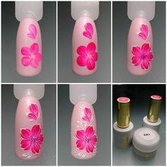 Heat Up Your Life with Some Stunning Summer Nail Art Rose Nail Art, Rose Nails, Flower Nail Art, Nail Art Diy, Diy Nails, Manicure, Nail Art Designs, Flower Nail Designs, Nail Polish Designs