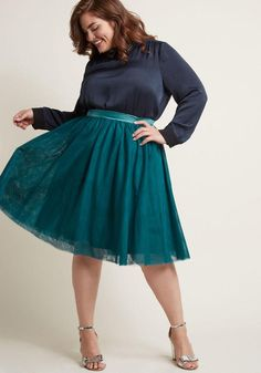 #ModCloth - #B7082 This tulle skirt is your secret weapon to finishing an enviable look with a feminine touch! Part of our ModCloth namesake label, this teal piece features layers of soft netting that gracefully gather below a silky waistband, offering sweet sophistication - AdoreWe.com