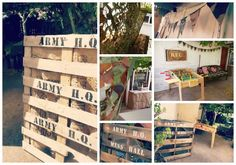 Greatfun4kids: Army Combat Party - Army H.Q. with stencil pallet signs