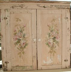 chippy peely,dirty pink cabinet, embellished with rose sprays~ C.Repasy