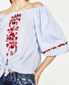 Image 6 of EMBROIDERED OFF-THE-SHOULDER TOP from Zara