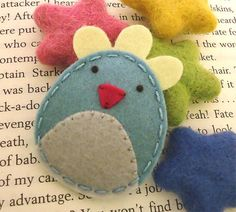 NO SLIP Wool felt hair clip -Easter chicken -mi... - Folksy