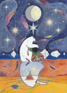 Spirit Bear of Winter ~ by Ellen Uytewaal, 1960 Native American Artwork, Native American Artists, Spirit Bear, My Spirit Animal, Arte Haida, Bear Totem, Woodland Art, Spirited Art, Bear Art