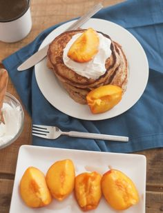 Whole Wheat Pancakes w/ Roasted Peaches & Greek Yogurt Topping