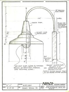 Drawing of proposed Pioneer Square alley light, 1980