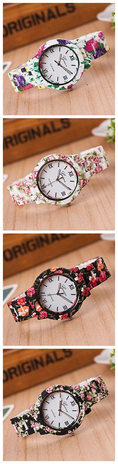 New fashion high-quality ceramic printing quartz watches, with beautiful flower patterns. Take a look!