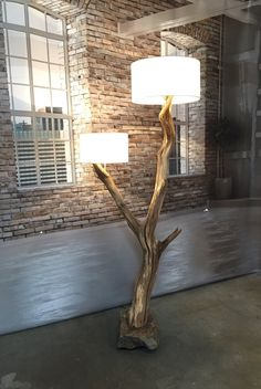Double Floor Lamp weathered old oak tree in par GBHNatureArt