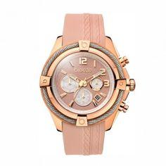Γυναικείο ρολόι χρονογράφος BREEZE Flirtini σε ροζ κάσα με νουντ καουτσούκ  και καντράν 6bdc4eacf16