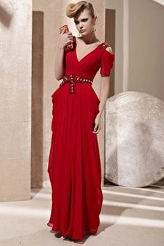 Red Beaded Off the Shoulder V-neck Chiffon Draped Prom Dress